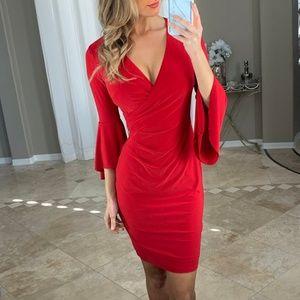 Ralph Lauren Red Bell Sleeves Surplice Dress 2